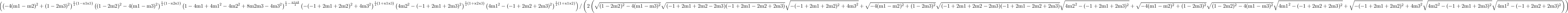 \left(\left(-4 (\text{m1}-\text{m2})^2+(1-2 \text{m3})^2\right)^{\frac{1}{4} (1-\text{x1} \text{x3})} \left((1-2 \text{m2})^2-4 (\text{m1}-\text{m3})^2\right)^{\frac{1}{4} (1-\text{x2} \text{x3})} \left(1-4 \text{m1}+4 \text{m1}^2-4 \text{m2}^2+8 \text{m2} \text{m3}-4 \text{m3}^2\right)^{\frac{1}{4}-\frac{\text{x1} \text{x2}}{4}} \left(-(-1+2 \text{m1}+2 \text{m2})^2+4 \text{m3}^2\right)^{\frac{1}{4} (1+\text{x1} \text{x3})} \left(4 \text{m2}^2-(-1+2 \text{m1}+2 \text{m3})^2\right)^{\frac{1}{4} (1+\text{x2} \text{x3})} \left(4 \text{m1}^2-(-1+2 \text{m2}+2 \text{m3})^2\right)^{\frac{1}{4} (1+\text{x1} \text{x2})}\right)/\left(2 \left(\sqrt{(1-2 \text{m2})^2-4 (\text{m1}-\text{m3})^2} \sqrt{(-1+2 \text{m1}+2 \text{m2}-2 \text{m3}) (-1+2 \text{m1}-2 \text{m2}+2 \text{m3})} \sqrt{-(-1+2 \text{m1}+2 \text{m2})^2+4 \text{m3}^2}+\sqrt{-4 (\text{m1}-\text{m2})^2+(1-2 \text{m3})^2} \sqrt{(-1+2 \text{m1}+2 \text{m2}-2 \text{m3}) (-1+2 \text{m1}-2 \text{m2}+2 \text{m3})} \sqrt{4 \text{m2}^2-(-1+2 \text{m1}+2 \text{m3})^2}+\sqrt{-4 (\text{m1}-\text{m2})^2+(1-2 \text{m3})^2} \sqrt{(1-2 \text{m2})^2-4 (\text{m1}-\text{m3})^2} \sqrt{4 \text{m1}^2-(-1+2 \text{m2}+2 \text{m3})^2}+\sqrt{-(-1+2 \text{m1}+2 \text{m2})^2+4 \text{m3}^2} \sqrt{4 \text{m2}^2-(-1+2 \text{m1}+2 \text{m3})^2} \sqrt{4 \text{m1}^2-(-1+2 \text{m2}+2 \text{m3})^2}\right)\right)