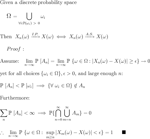 Convergence of Random Variables on Discrete Prob Spaces
