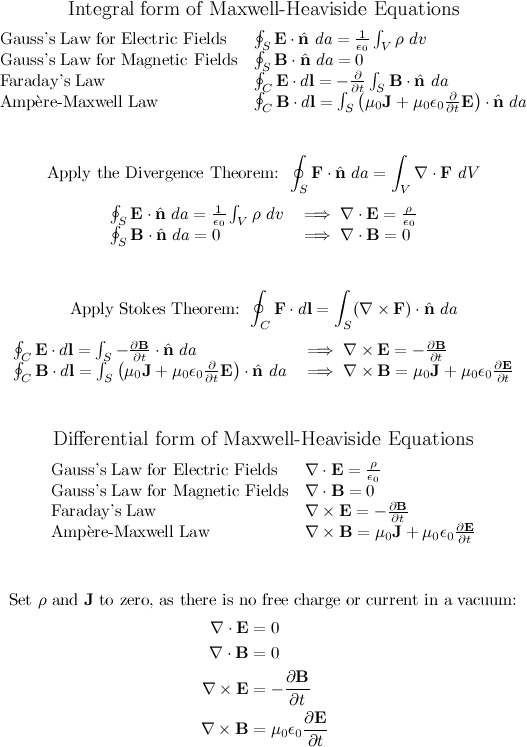 $$ {\large \text{Integral form of Maxwell-Heaviside Equations}} $$ \[ \begin{array}{ll} \text{Gauss's Law for Electric Fields} & \oint_S \mathbf{E} \cdot \hat{\mathbf{n}}\ da = \frac{1}{\epsilon_0} \int_V \rho\ dv \\ \text{Gauss's Law for Magnetic Fields} & \oint_S \mathbf{B} \cdot \hat{\mathbf{n}}\ da = 0 \\ \text{Faraday's Law} & \oint_C \mathbf{E} \cdot d\mathbf{l} = -\frac{\partial}{\partial t} \int_S \mathbf{B} \cdot \hat{\mathbf{n}}\ da \\ \text{Amp}\grave{\mathrm{e}}\text{re-Maxwell Law} & \oint_C \mathbf{B} \cdot d\mathbf{l} = \int_S \left( \mu_0 \mathbf{J} + \mu_0\epsilon_0 \frac{\partial}{\partial t} \mathbf{E} \right) \cdot \hat{\mathbf{n}}\ da \\ \end{array} \]  $$ \\ \\ $$ $$ \text{Apply the Divergence Theorem: } \oint_S \mathbf{F} \cdot \hat{\mathbf{n}}\ da = \int_V \nabla \cdot \mathbf{F}\ dV $$ \[ \begin{array}{ll} \oint_S \mathbf{E} \cdot \hat{\mathbf{n}}\ da = \frac{1}{\epsilon_0} \int_V \rho\ dv \; &\Longrightarrow \; \nabla \cdot \mathbf{E} = \frac{\rho}{\epsilon_0} \\ \oint_S \mathbf{B} \cdot \hat{\mathbf{n}}\ da = 0  \; &\Longrightarrow \; \nabla \cdot \mathbf{B} = 0 \\ \end{array} \]  $$ \\ \\ $$ $$ \text{Apply Stokes Theorem: } \oint_C \mathbf{F} \cdot d\mathbf{l} = \int_S (\nabla \times \mathbf{F}) \cdot \hat{\mathbf{n}}\ da $$ \[ \begin{array}{ll} \oint_C \mathbf{E} \cdot d\mathbf{l} = \int_S -\frac{\partial \mathbf{B}}{\partial t} \cdot \hat{\mathbf{n}}\ da \; &\Longrightarrow \; \nabla \times \mathbf{E} = -\frac{\partial \mathbf{B}}{\partial t} \\ \oint_C \mathbf{B} \cdot d\mathbf{l} = \int_S \left( \mu_0 \mathbf{J} + \mu_0\epsilon_0 \frac{\partial}{\partial t} \mathbf{E} \right) \cdot \hat{\mathbf{n}}\ da \; &\Longrightarrow \; \nabla \times \mathbf{B} = \mu_0 \mathbf{J} + \mu_0 \epsilon_0 \frac{\partial \mathbf{E}}{\partial t} \\ \end{array} \]  $$ \\ \\ $$ $$ {\large \text{Differential form of Maxwell-Heaviside Equations}} $$ \[ \begin{array}{ll} \text{Gauss's Law for Electric Fields} & \nabla \cdot \mathbf{E} = \frac{\rho}{\epsilon_0}